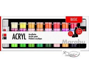 Akrylové barvy Marabu Basic 32 x 3,5 ml + 2 x 59 ml