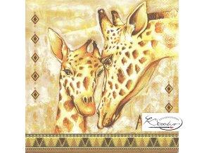Ubrousek 33 x 33 cm / 20 ks - African Giraffes