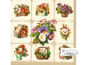 Ubrousek 33 x 33 cm / 20 ks - Cheesboard with Garden Flowers