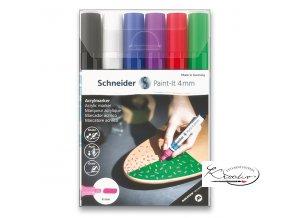 Akrylový popisovač Schneider souprava 6 / 4 mm