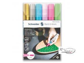 Akrylový popisovač Schneider souprava 6 / 4 mm - pastelové