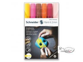 Akrylový popisovač Schneider souprava 6 / 2 mm - pleťové