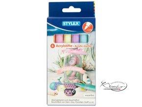 Akrylové popisovače Stylex 6 - pastelové