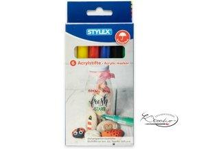 Akrylové popisovače Stylex 6 - základní barvymain fdc86896
