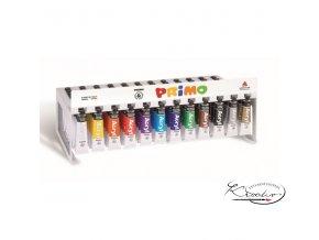 Akrylová barva PRIMO obsahuje vysoké množství pigmentu.  ● velká krycí schopnost, ● vodou ředitelná, ● voděodolná, ● vhodné pro všechny savé podklady.  Jasné a syté odstíny.  Barvy po zaschnutí nejsou vypratelné, nutno odstranit ihned teplou vodou a mýdlem.