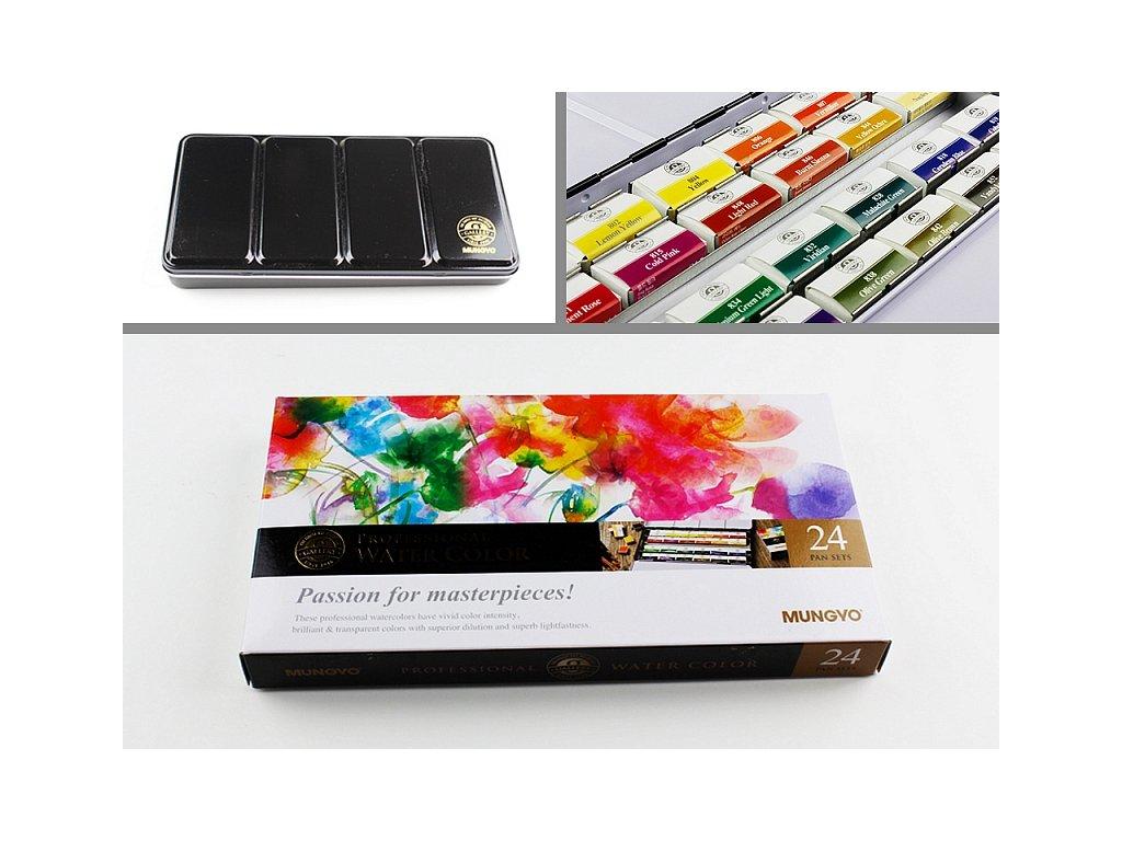 Sada profesionálních akvarelových barev, 24 ks full pan