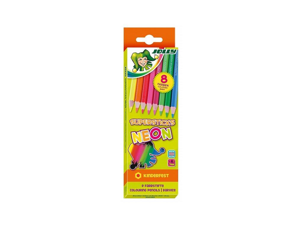 Neonové pastelky Jolly - sada 8 ks