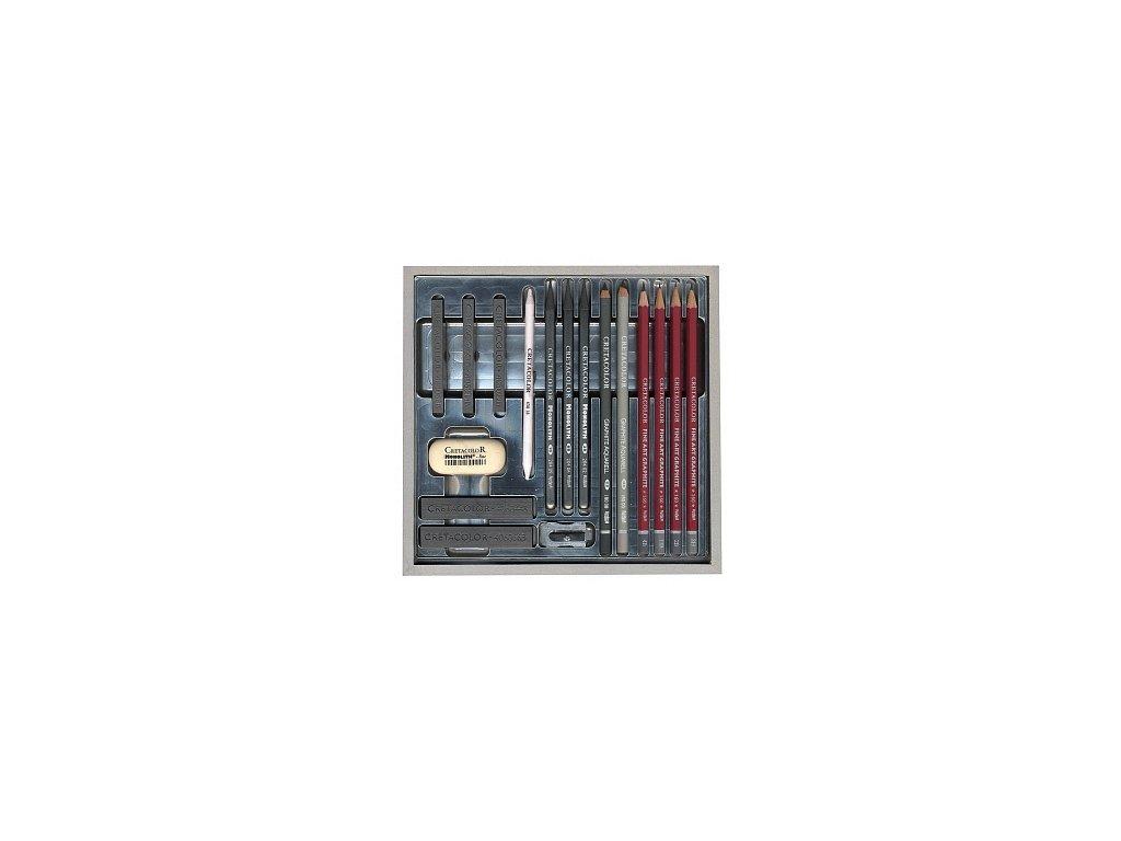 Cretacolor SilverBox sada v dřevěné krabičce (17 ks)