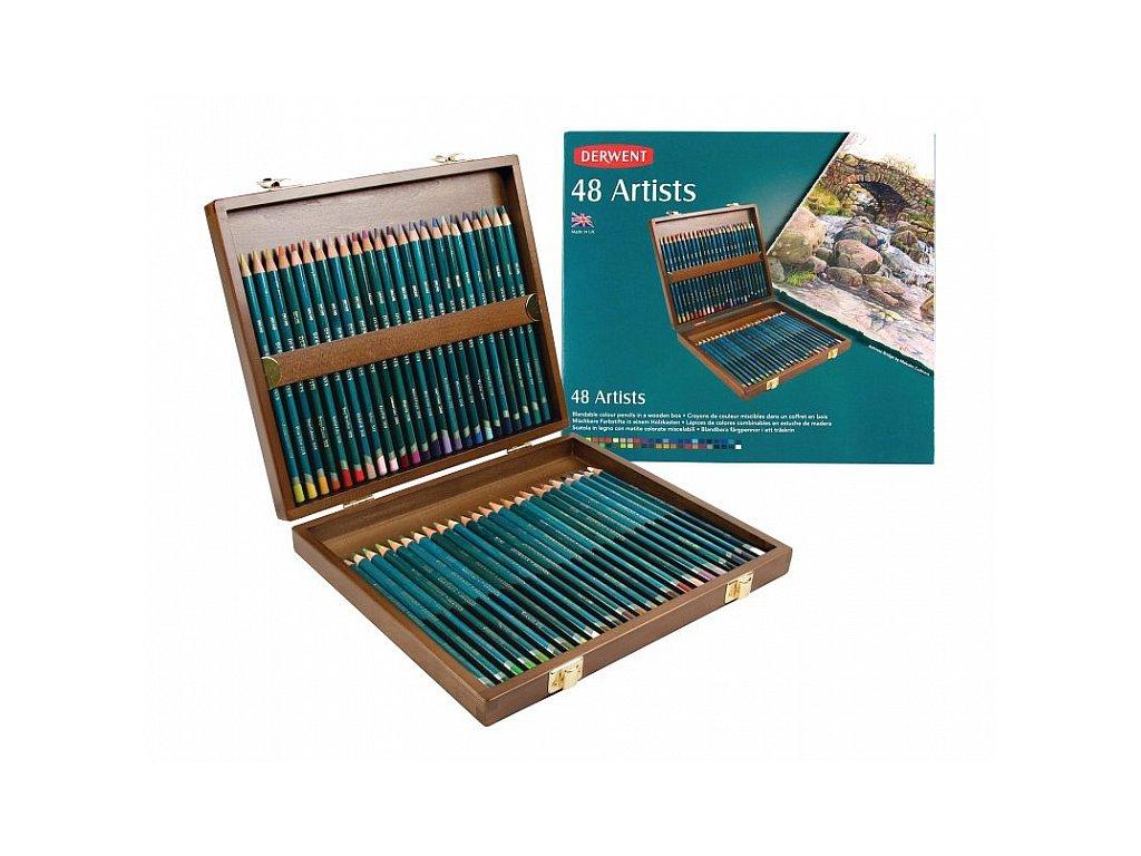 Artists - sada uměleckých pastelek - dřevěný kufřík, 48 ks