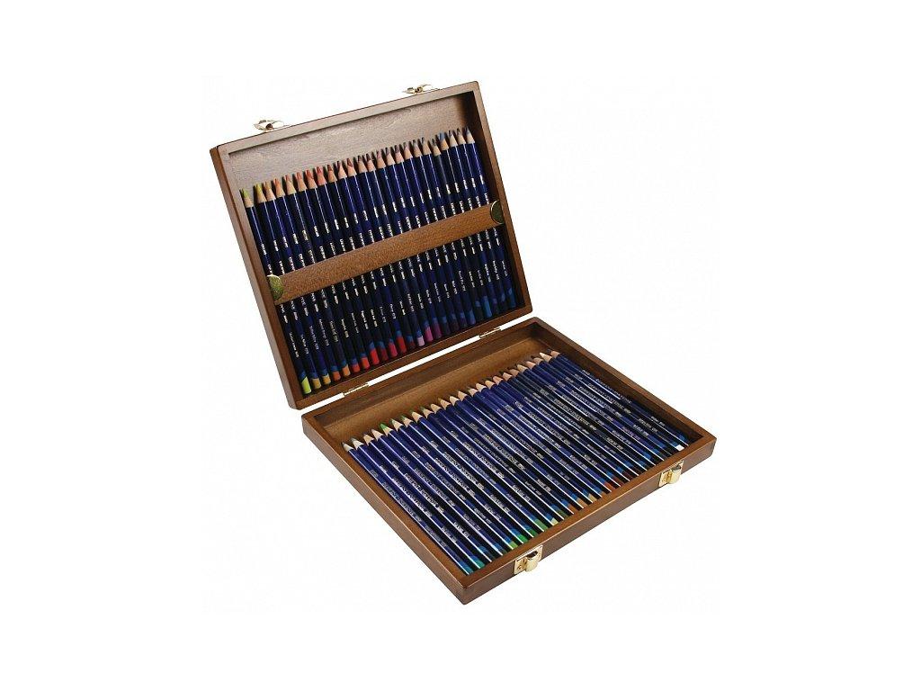 Inktense - sada akvarelových pastelek - dřevěný kufřík, 48 ks