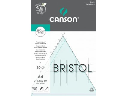 Bristol skicák - lepený na krátké straně (250g/m2, 20 archů), A4, A3