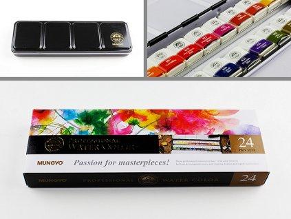 Sada profesionálních akvarelových barev 24 ks half pan