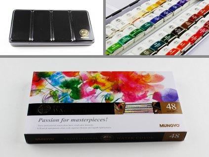 Sada profesionálních akvarelových barev, 48 ks half pan