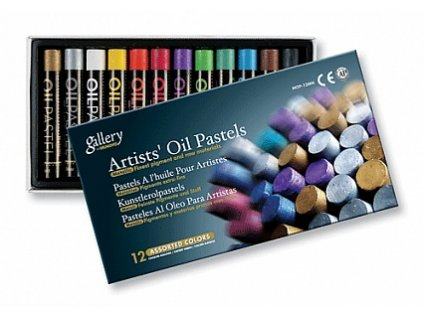 Sada olejových pastelů SQ 12 ks - Metalické odstíny