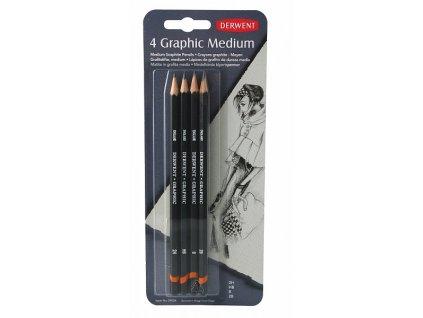 Graphic - sada 4 grafitových tužek, Medium - Designer