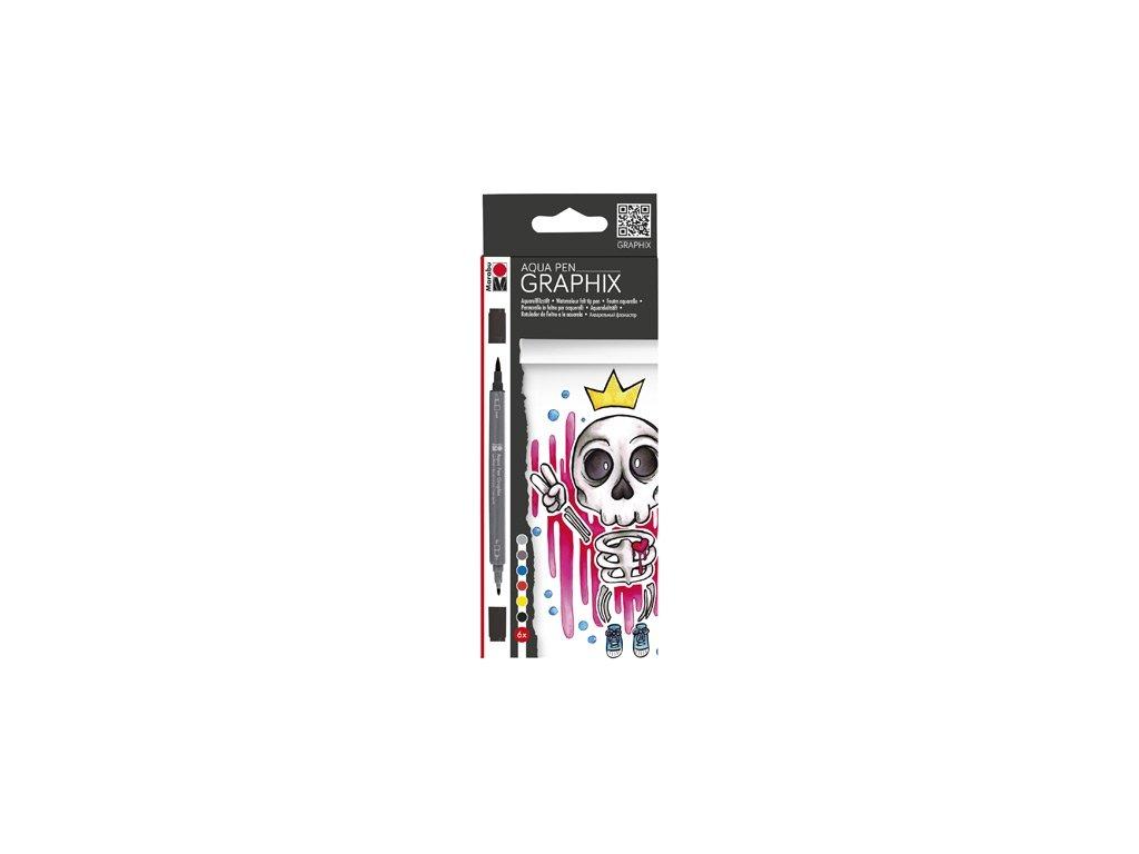 533 4 akvarelove popisovace marabu graphix king of bubblegum sada 6ks