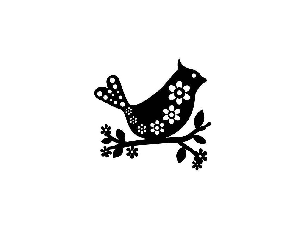 Šablona Marabu pro Fashion spray 15x15cm - Bird with flowers