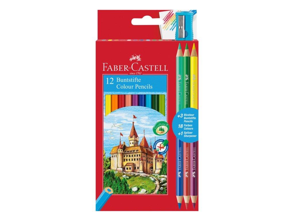 2303 1 pastelky faber castell eko 12 barev 3 bicolor orezavatko