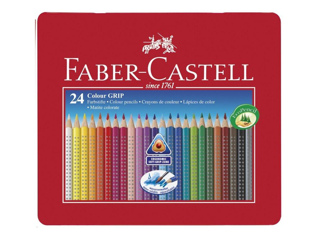2411 5 akvarelove pastelky faber castel grip 2001 112423 24 barev v plechove etui