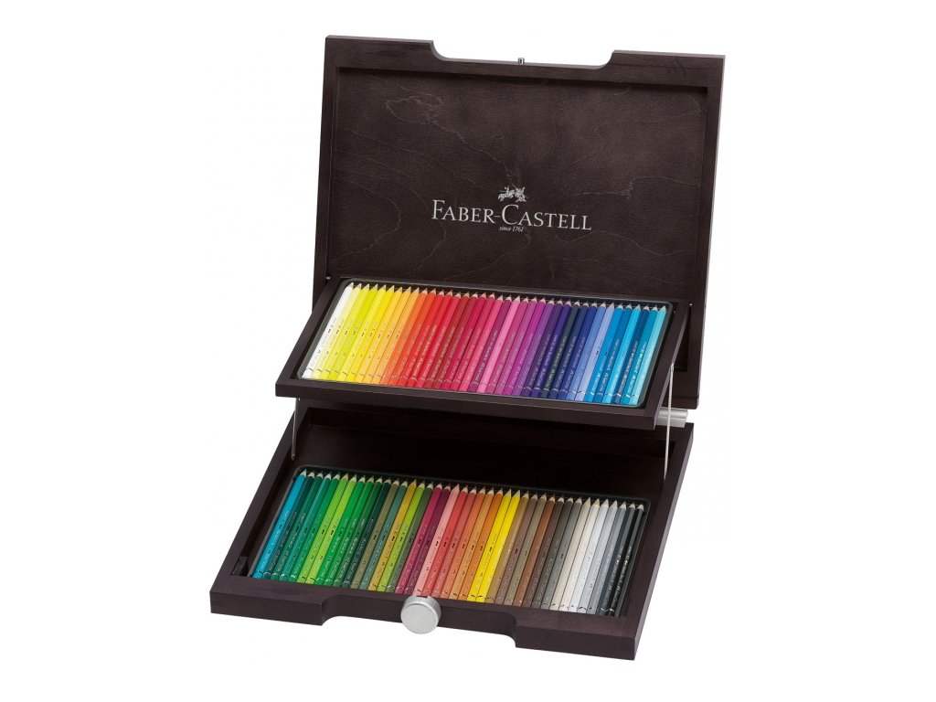 2633 7 akvarelove pastelky faber castell albrecht durer dreveny kufrik 72 barev
