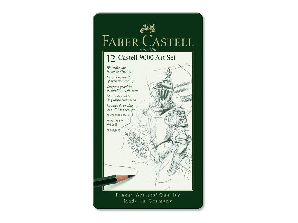 2690 2 umelecke grafitove tuzky faber castell 9000 art set 119065 12 ks kovova krabicka