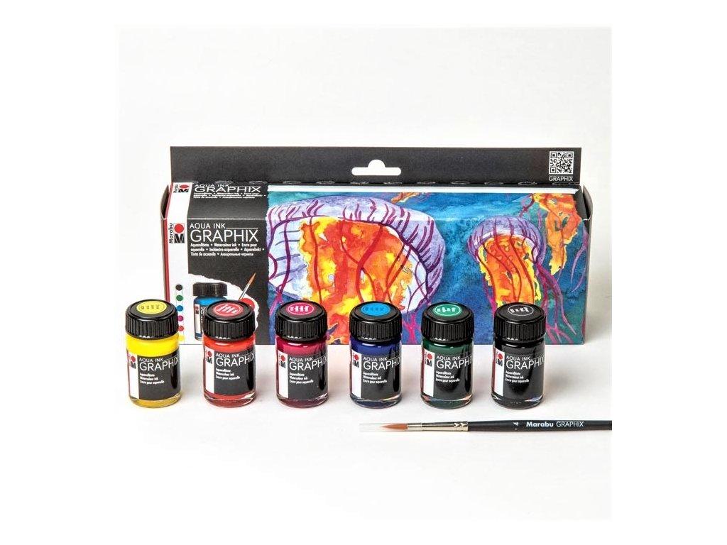 2927 3 marabu aqua ink graphix sada akvarelovych inkoustu