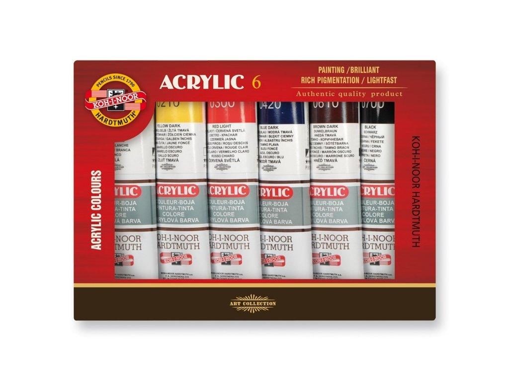 4412 akrylove barvy koh i noor 162s0601 sada 6 x 40 ml