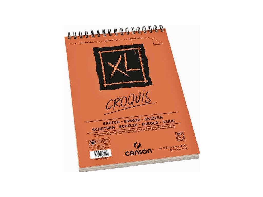Canson XL Skicák A5 90g 60 listů, kroužková vazba na krátké straně