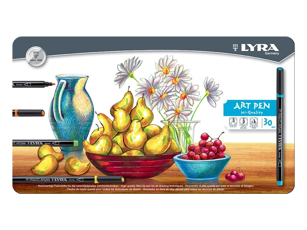 11015 2 lyra art pen umelecke fixy fine 1mm sada 30 barev v plechove etui