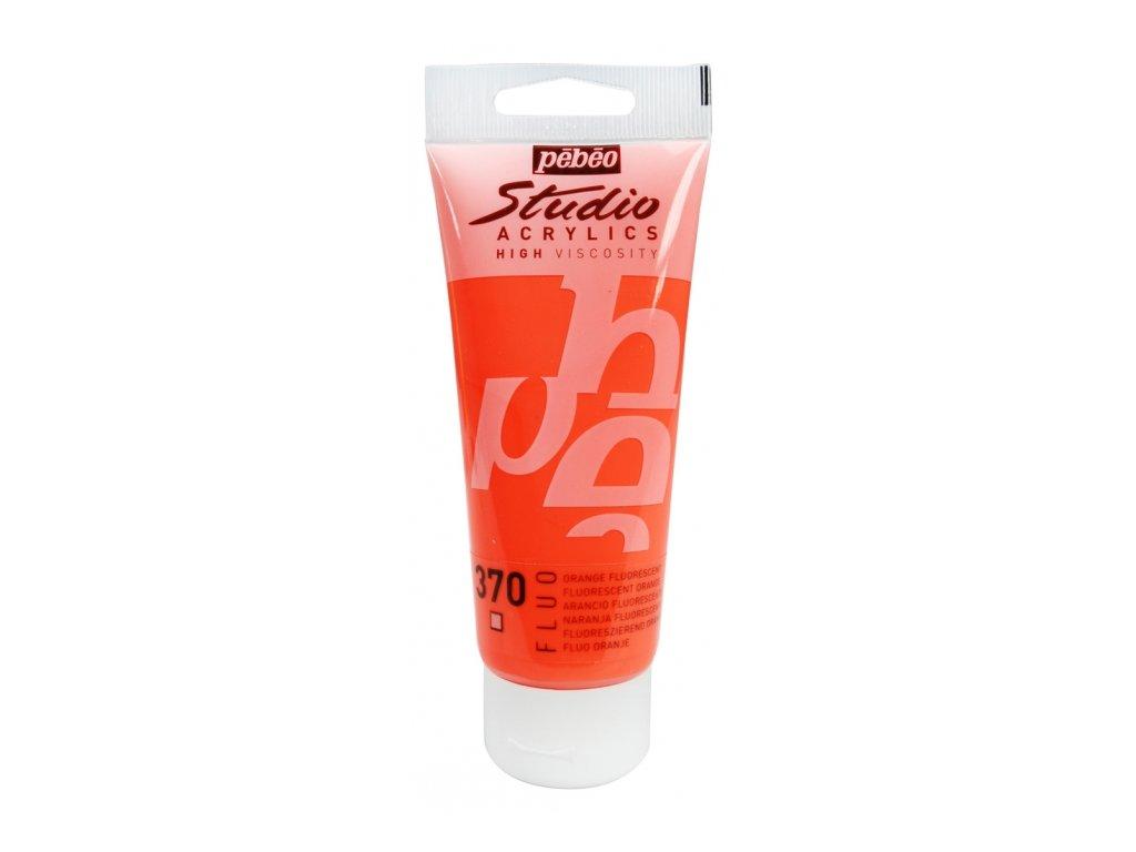 11915 akrylova barva pebeo studio acrylic 100 ml 370 oranzova fluo