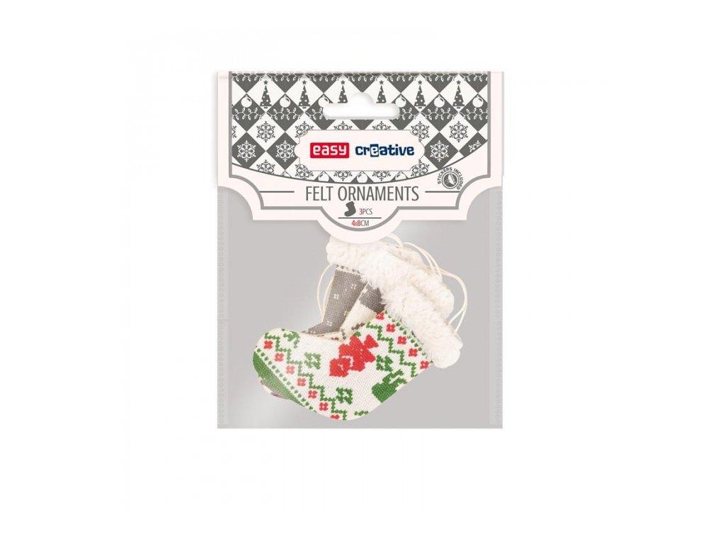 12464 filcova dekorace vanocni ponozky 3ks v baleni