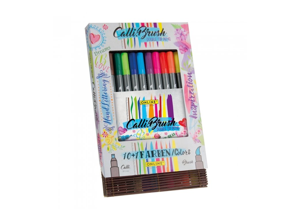 14009 6 kaligraficke popisovace calli brush set 11 barev bamboo case