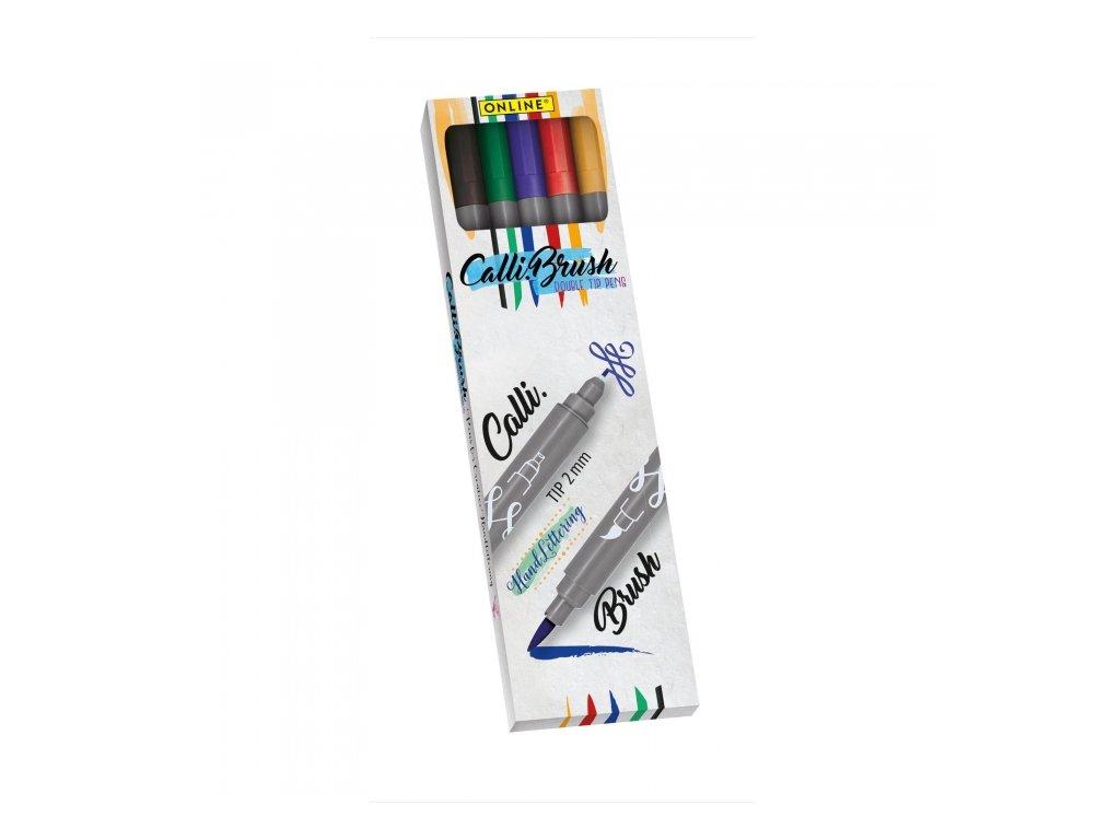14090 2 kaligraficke oboustranne popisovace calli brush set 5 zakladnich barev