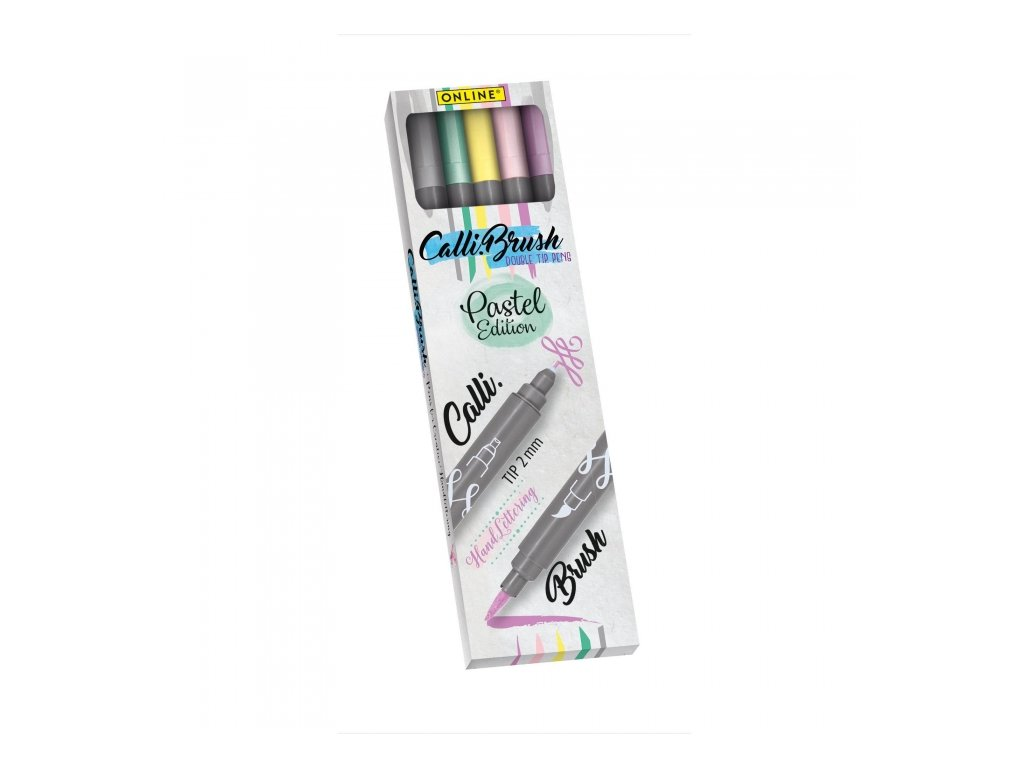 14093 2 kaligraficke oboustranne popisovace calli brush set 5 pastelovych barev