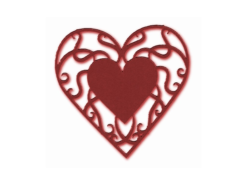 14123 vyrez karton srdce male cervene
