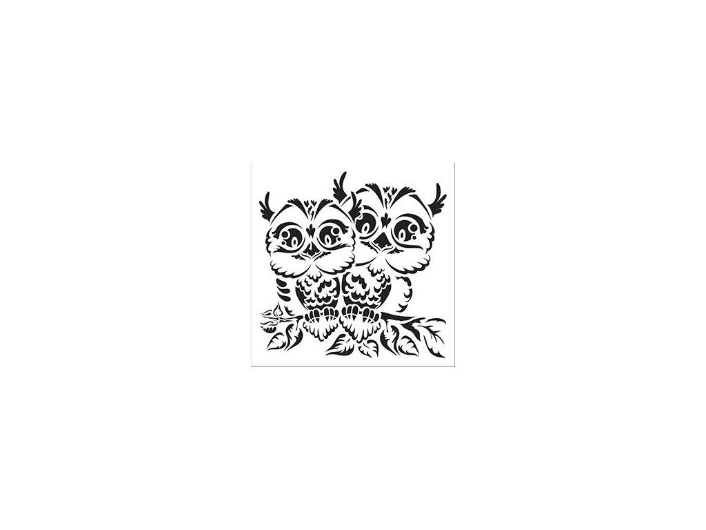 30171 sablona plastova 25 x 25 cm sovy