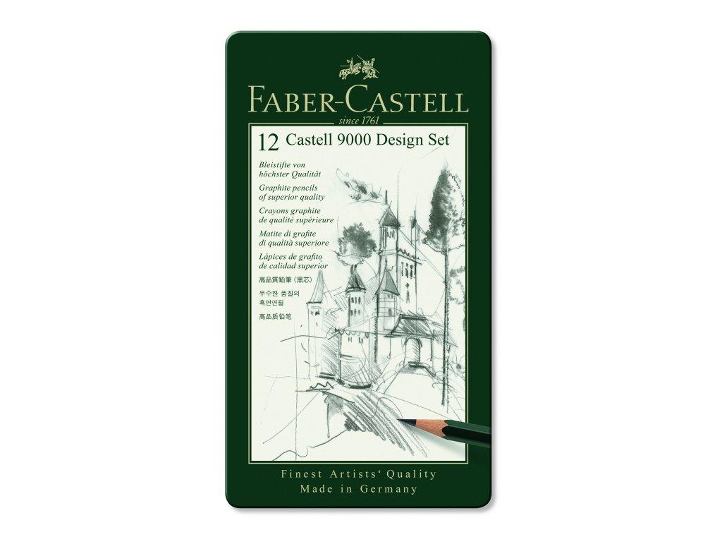 34155 umelecke grafitove tuzky faber castell 9000 design set 119064 12 ks kovova krabicka