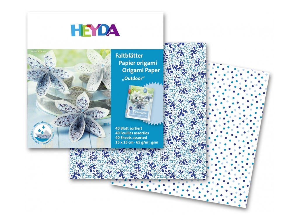 34935 origami 15x15cm 40 listu 65g modry vzor outdoor