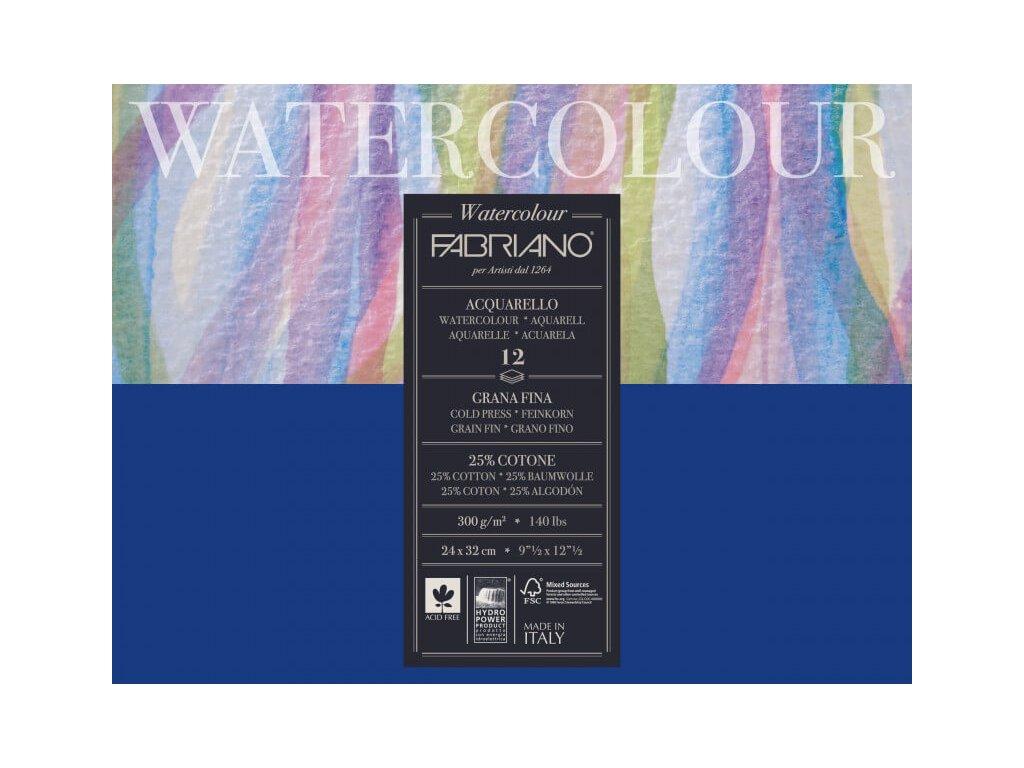 Akvarelový papír Fabriano Watercolour Cold Press 36x48 cm, 300g, 12 listů, blok