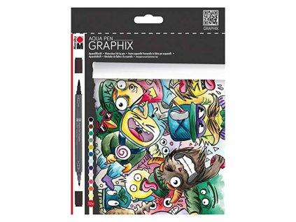 527 3 akvarelove popisovace marabu graphix aqua pen sada 12 ks