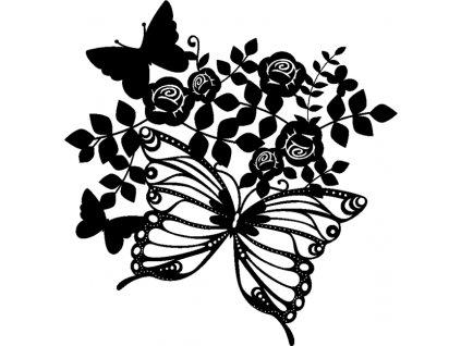 Šablona Marabu pro Fashion sprej 30x30cm - Butterflies & Roses