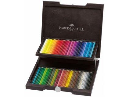2066 7 umelecke pastelky faber castell polychromos dreveny kufrik 72 barev