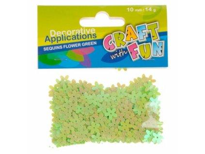6737 craft with fun dekorace flitry kvetinky zelene 10mm