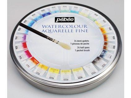 6911 akvarelove barvy pebeo watercolour aquarelle fine 24 ks 300078 sada v kovove etui