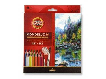 8174 1 akvarelove pastelky koh i noor mondeluz 3712 sada 36 barev 2 stetce orezavatko