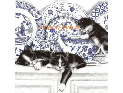 8216 ubrousek 33x33 cm black cats with china