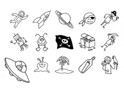 10013 sada 15 ks razitek heyda pirati a vesmir