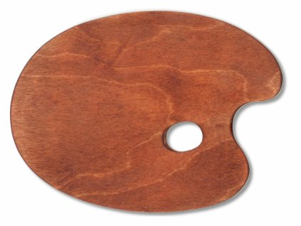 10454 malirska paleta drevena ovalna 280x365 mm voskovana