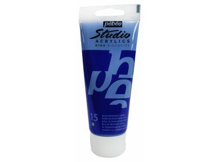 11747 akrylova barva pebeo studio acrylic 100 ml 015 ultramarin tmavy