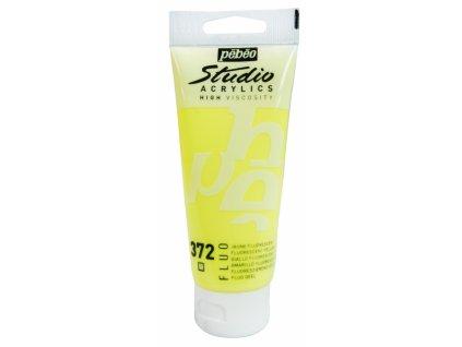 11921 akrylova barva pebeo studio acrylic 100 ml 372 zluta fluo